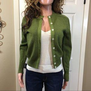 Vintage springs green wool cardigan